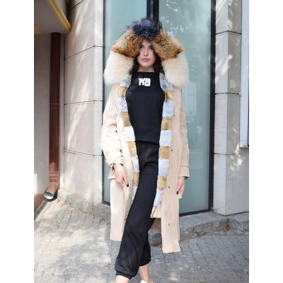 Пальто-парка с комбинированным енотом+песец Jeremmy