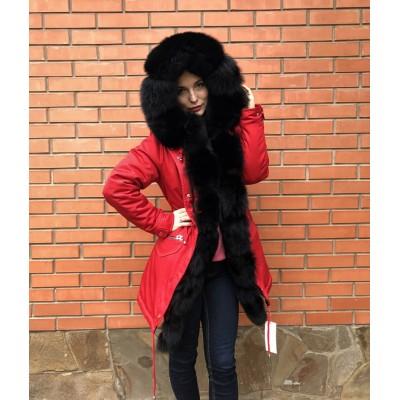 Парка женская с натуральным мехом песца Arctic fox colored