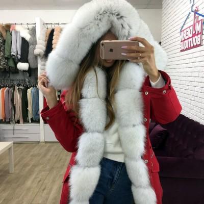 Парка женская с натуральным мехом песца Arctic fox 2018