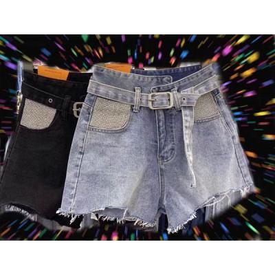 Джинсовые шорты с камешками карман HME