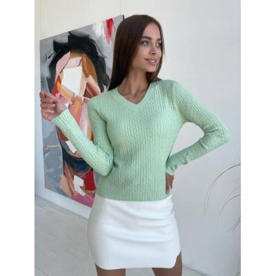 Кофточка-свитерок с V-вырезом из мягкого трикотажа
