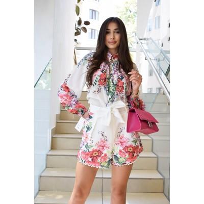 Льняной костюм : блуза + шорты «цветы»