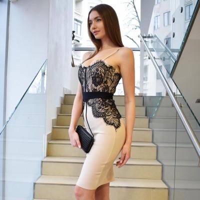 Платье-бюст с кружевом на тонких бретелях