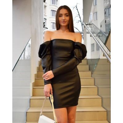 Мини-платье с пышными рукавами эко-кожа