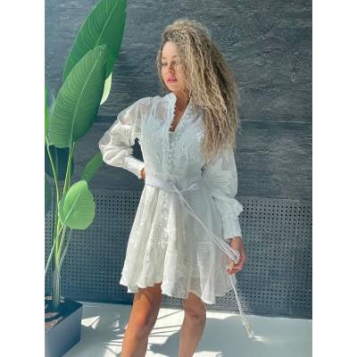 Платье с пышным рукавом макраме под пояс