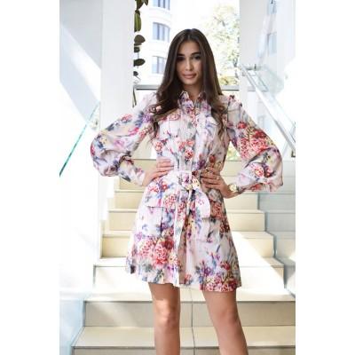 Платье-рубаха с поясом и карманами впереди 596#