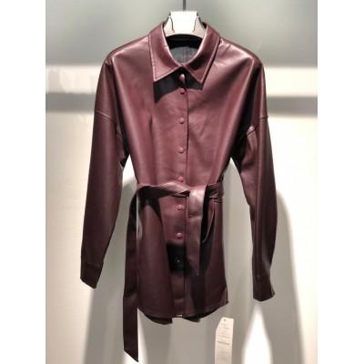 Блуза из экокожи с поясом