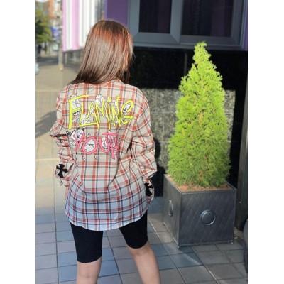 Стильная рубашка в клеточку Корея 8199#