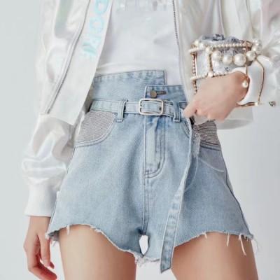 Джинсовые шорты женские с камешками сбоку HME